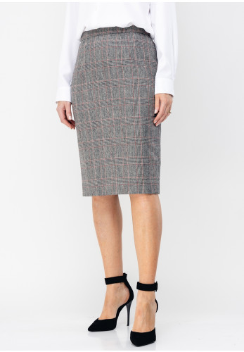 Christina Felix Wool Blend Check Skirt, Grey