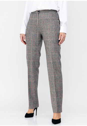 Christina Felix Wool Blend Check Straight Trousers, Grey