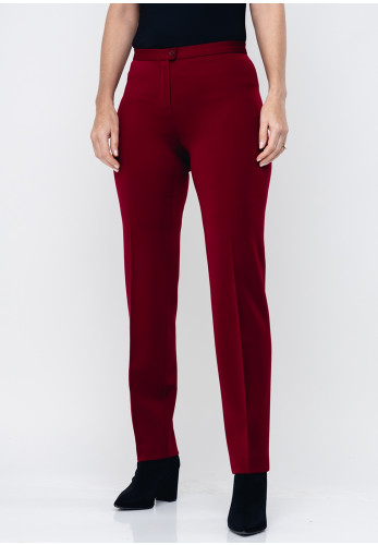 Christina Felix Wool Blend Slim Trousers, Wine