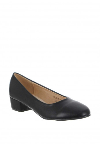 Zen Faux Leather Block Heel Pumps, Black