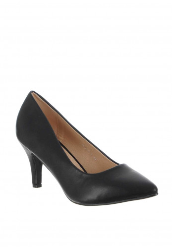 Zen Faux Leather Pointed Toe Court Shoes, Black