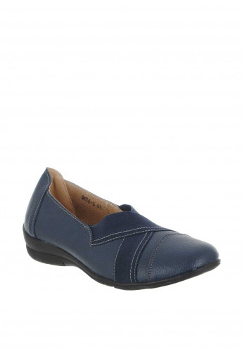 Zen Leather Elastic Panel Comfort Shoes, Navy