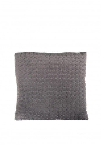 Fullshire Feather Filled Velvet Cushion with Circle Detailing, Charcoal