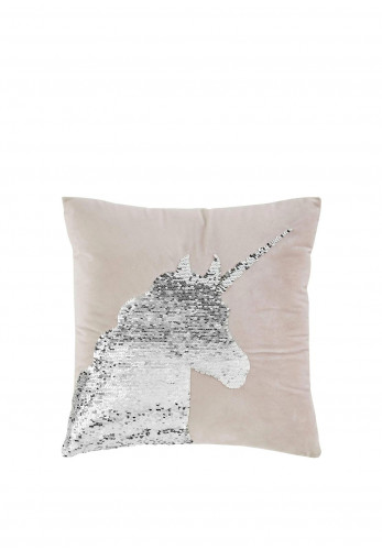 Catherine Lansfield Unicorn Reversible Sequin Cushion Cover, Pink