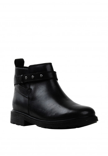 Clarks Girls Astrol Soar Leather Ankle Boots, Black