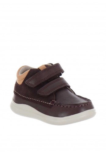 Clarks Boys Cloud Tuktu First Leather Boots, Brown