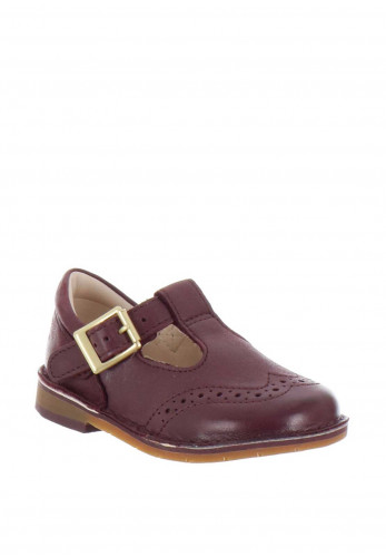 Clarks Girls Comet Reign Leather Shoes, Burgundy