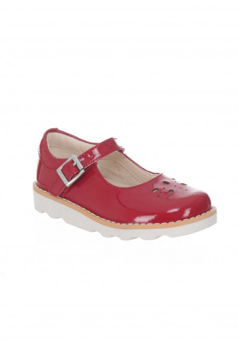 Clarks Girls Leather Crown Posy Shoes, Red