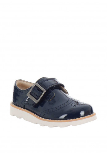 Clarks Girls Crown Pride Patent Leather Shoes, Navy