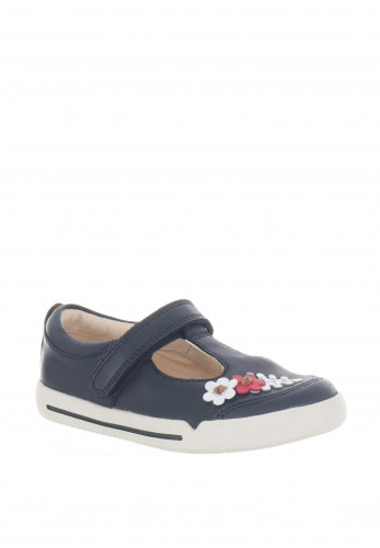 Clarks Girls Mini Blossom Leather Shoes, Navy