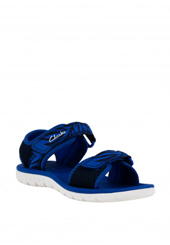 Clarks Kids Surfing Tide Printed Velcro Sandals, Blue