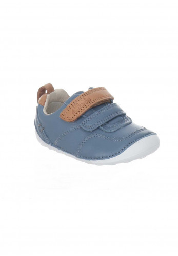 Clarks Baby Boys Leather Tiny Aspire Pre Shoes, Blue