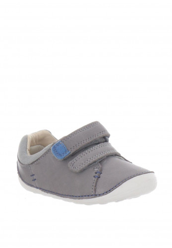 Clarks Baby Boys Tiny Toby Leather Pre-Walking Shoes, Grey