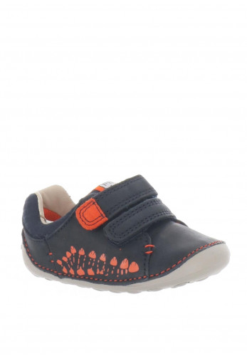Clarks Baby Boys Tiny Trail Leather Pre-Walking Shoes, Navy