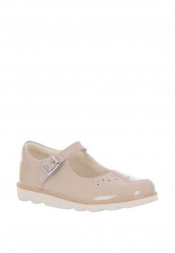Clarks Girls Crown Jump Patent Leather Shoes, Blush