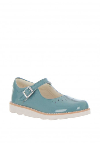Clarks Girls Crown Jump Patent Leather Shoes, Teal