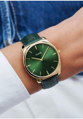 Cluse Féroce Leather Watch, Forest Green & Gold