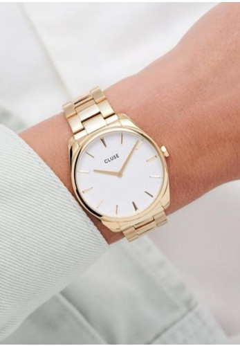 Cluse Féroce Link Watch, Gold & White