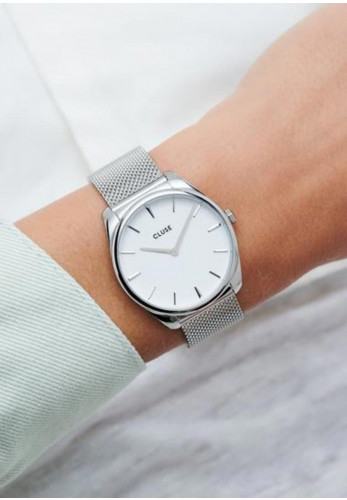 Cluse Féroce Mesh Watch, Silver & White