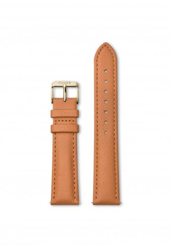 Cluse 18mm Leather Watch Strap, Orange & Gold