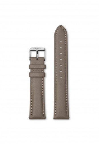 Cluse 18mm Leather Watch Strap, Taupe & Silver