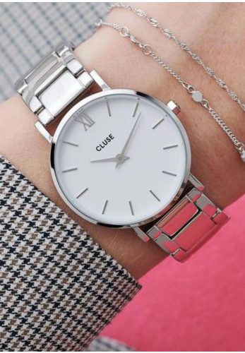 Cluse Minuit Link Watch, Silver & White