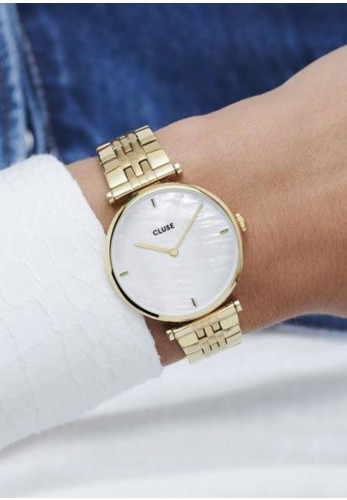 Cluse Triomphe Link Watch, Gold & White Pearl