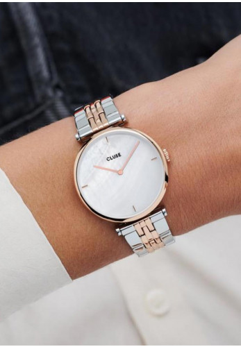 Cluse Triomphe Silver Link Watch, Rose Gold & White