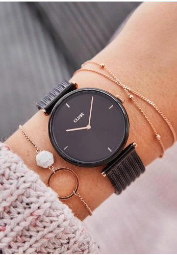 Cluse Triomphe Mesh Watch, Rose Gold and Black