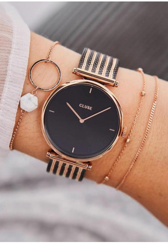 Cluse Triomphe Mesh Watch, Black & Rose Gold