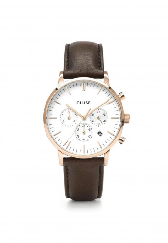 Cluse Aravis Chrono Leather Watch, Rose Gold & Brown