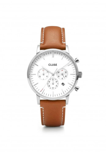 Cluse Aravis Chrono Leather Watch, Silver & Brown
