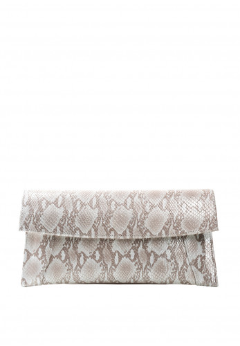 Emis Metallic Snake Print Clutch Bag