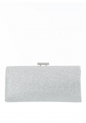 Lotus Vibe Glitter Embellished Clutch Bag, Silver