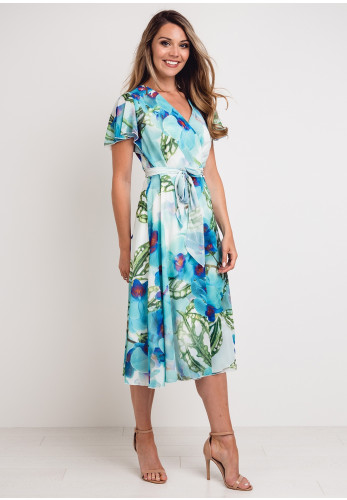 Coco Doll Jinx Floral Wrap Midi Dress, Aqua Multi