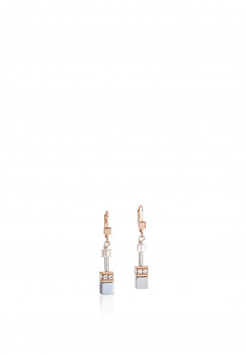 Coeur De Lion Geo Cube Cluster Earrings, Silver-Rose Gold