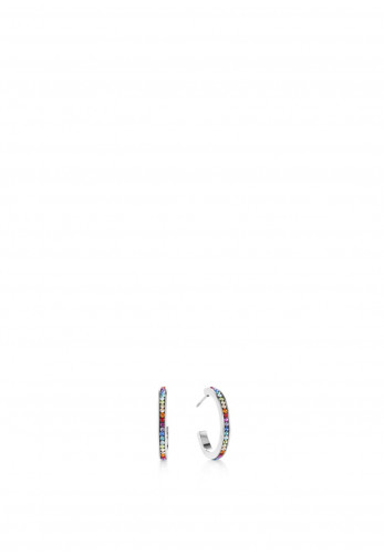 Coeur De Lion Crystals Pavé Hoop Earrings, Rainbow & Silver