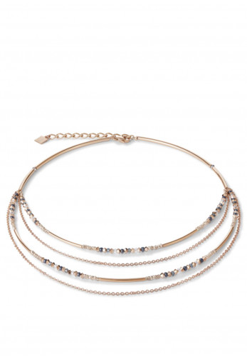 Coeur De Lion Fine Waterfall Necklace, Rose Gold & Grey