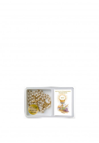 Communion Pearl Rosary Beads Gold with Book Set