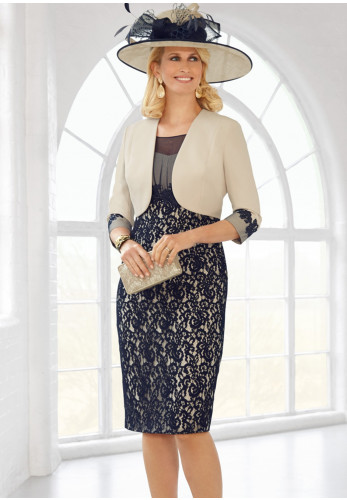 Condici Lace Overlay Dress & Jacket, Navy & Cream