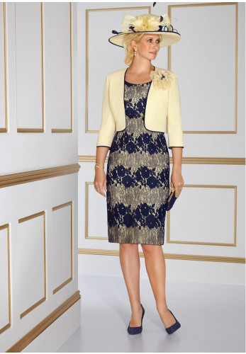 Condici Lace Dress and Corsage Jacket, Yellow