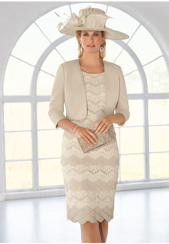 Condici Lace Scalloped Dress & Jacket, Beige