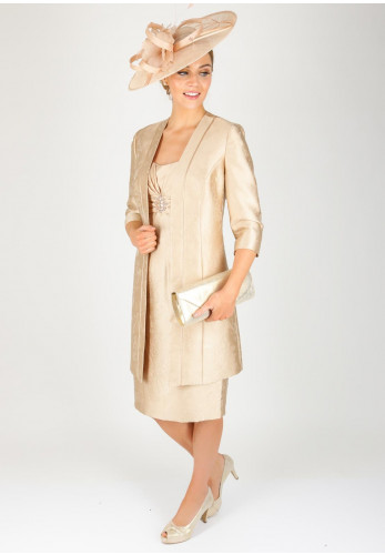 Condici Jacquard Print Dress & Coat Outfit, Champagne