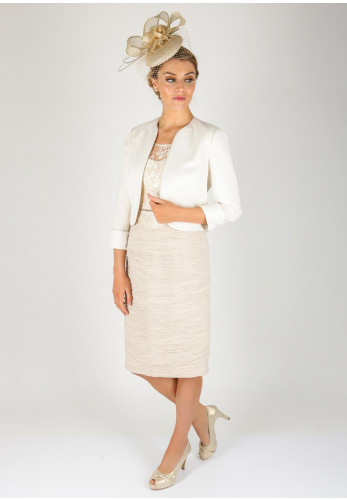 Condici Lace Bodice Ruched Dress & Jacket, Cream
