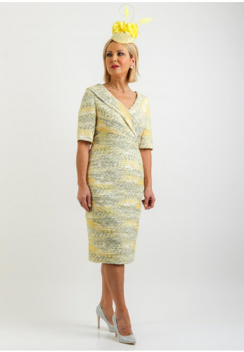 Condici Ruched V-Neck Pencil Dress, Citrine Yellow