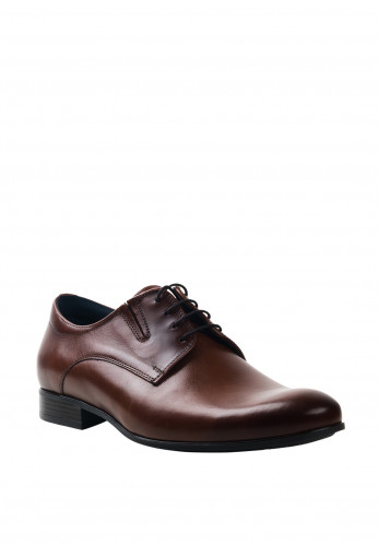 Conhpol Mens Leather Derby Shoe, Dark Brown