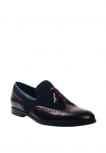 Conhpol Leather Brogue Toe Loafer, Bordeaux