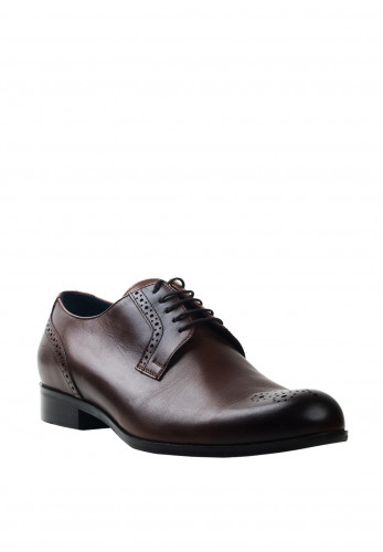 Conhpol Leather Brogue Toe Shoe, Dark Brown