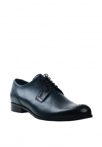Conhpol Leather Brogue Toe Shoe, Navy
