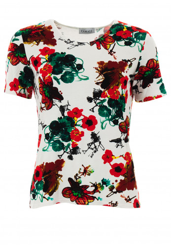 Leon Collection Poppy Flower Print T-Shirt, Red Multi